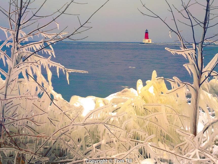 Ice on Green Bay Shore & Lake Michigan Menominee Lighthouse, Menominee, Michigan