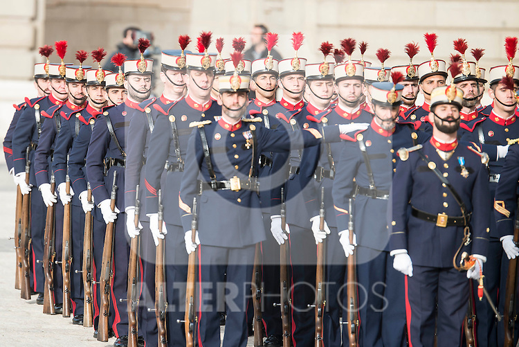 Military during state visit of the president of Argentinian Republic, Sr. Mauricio Macri and Sra Juliana Awada at Real Palace in Madrid, Spain. February 19, 2017. (ALTERPHOTOS/BorjaB.Hojas)