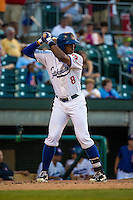 Adam Brett Walker II (8) of the Chattanooga Lookouts bats during a game between the Jackson Generals and Chattanooga Lookouts at AT&T Field on May 7, 2015 in Chattanooga, Tennessee. (Brace Hemmelgarn/Four Seam Images)