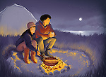 Illustrative image of couple barbecuing while camping at night
