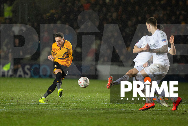 Robbie Willmott of Newport County scores his side's first goal during the FA Cup 4th round replay match between Newport County and Middlesbrough at Rodney Parade, Newport, Wales on 5 February 2019. Photo by Mark  Hawkins / PRiME Media Images.