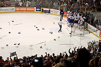 Jun 7, 2007; Hamilton, ON, CAN; Sticks, gloves and helmets litter the ice as the Hamilton Bulldogs celebrate defeating the Hershey Bears 2-1 to win the Calder Cup in game five at Copps Coliseum. Mandatory Credit: Ron Scheffler