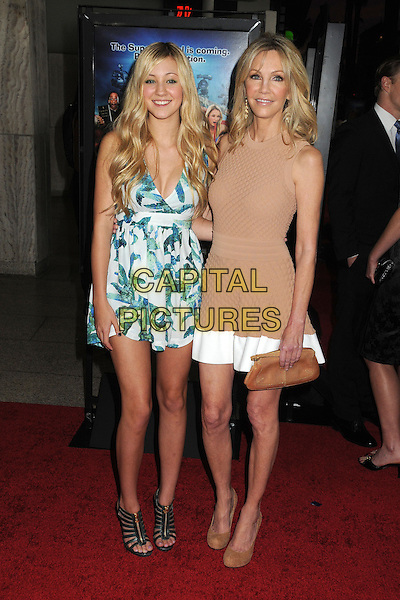 "Ava Sambora, Heather Locklear.Attending the ""Scary Movie 5"" Los Angeles film premiere held at the Cinerama Dome,  Hollywood, California, USA, .11th April 2013..full length dress clutch bag sleeveless nude matching beige brown tan purse hands ring hand mom mother daughter family white blue print trim .CAP/ADM/BP.©Byron Purvis/AdMedia/Capital Pictures"