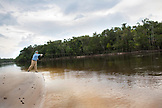 BRAZIL, Agua Boa, fly fisherman casting on a tributary of the Amazon River, Agua Boa River and resort