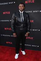 """30 March 2017 - Los Angeles, California - Derek Luke.  Premiere Of Netflix's """"13 Reasons Why"""" held at Paramount Studios in Los Angeles. Photo Credit: Birdie Thompson/AdMedia"""