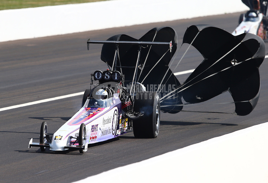 Aug. 30, 2013; Clermont, IN, USA: NHRA top alcohol dragster driver Chris Demke during qualifying for the US Nationals at Lucas Oil Raceway. Mandatory Credit: Mark J. Rebilas-