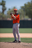 San Francisco Giants Orange relief pitcher Zach Becherer (80) prepares to deliver a pitch during an Extended Spring Training game against the Oakland Athletics at the Lew Wolff Training Complex on May 29, 2018 in Mesa, Arizona. (Zachary Lucy/Four Seam Images)
