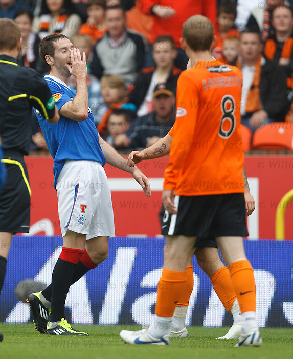 Kirk Broadfoot recoils back after getting a headbutt from Johnny Russell