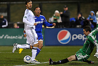 Troy Perkins makes a save with his feet...Kansas City Wizards defeated D.C Utd 4-0 in their home opener at Community America Ballpark, Kansas City, Kansas.