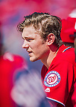 28 February 2016: Washington Nationals infielder Trea Turner watches play from the dugout during an inter-squad pre-season Spring Training game at Space Coast Stadium in Viera, Florida. Mandatory Credit: Ed Wolfstein Photo *** RAW (NEF) Image File Available ***