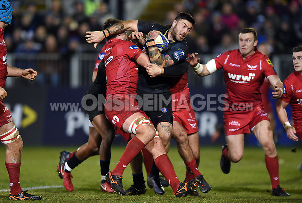 Matt Banahan of Bath Rugby takes on the Scarlets defence. European Rugby Champions Cup match, between Bath Rugby and the Scarlets on January 12, 2018 at the Recreation Ground in Bath, England. Photo by: Patrick Khachfe / Onside Images