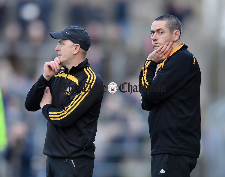 Robbie Hogan, Ballyea manager and Fergal Hegarty, Ballyea coach, during the county final replay against Clonlara at Cusack  Park. Photograph by John Kelly.