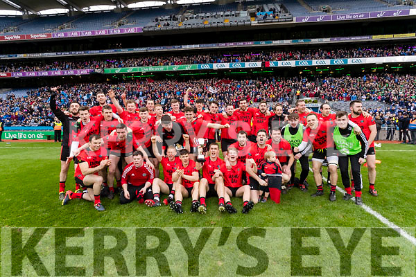 Glenbeigh Glencar players celebrate their victory over Rock Saint Patricks in the Junior Football All Ireland Final in Croke Park on Sunday.
