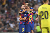 Lionel Messi, Arthur Melo, Sergio Busquets celebrate <br /> <br /> 21/01/2016 <br /> Barcelona - Villarreal <br /> Calcio La Liga 2019/2020 <br /> Photo Paco Largo Panoramic/insidefoto <br /> ITALY ONLY