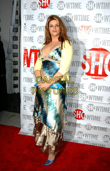 KIRSTIE ALLEY.Fat Actress Los Angeles Premiere held at the Cinerama Dome at Arclight Cinemas. Hollywood, California.Photo Credit: Laura Farr/AdMedia.February 23rd, 2005.full length blue brown silk satin dress yellow cardigan blue clutch purse blue shoes.www.capitalpictures.com.sales@capitalpictures.com.© Capital Pictures.