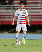 GEORGETOWN, GRAND CAYMAN, CAYMAN ISLANDS - NOVEMBER 19: Tyler Boyd #21 of the United States moves with the ball during a game between Cuba and USMNT at Truman Bodden Sports Complex on November 19, 2019 in Georgetown, Grand Cayman.
