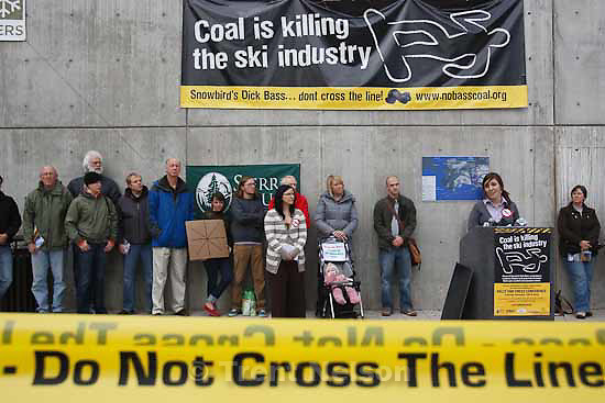 The Sierra Club and other environmental groups are staging a rally to protest Snowbird owner Dick Bass's involvement in a strip coal mine in Alaska.  Thursday, November 12 2009.