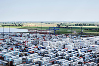 Containers and the countryside beyond at the port of Bremerhaven.