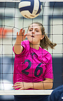 NWA Democrat-Gazette/CHARLIE KAIJO Bentonville West High School Avery Kniss (26) spikes the ball during the girl's volleyball game on Thursday, October 12, 2017 at Bentonville West High School in Centerton.