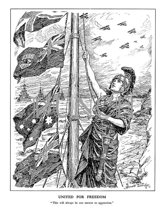 """United for Freedom. """"This will always be our answer to aggression."""" (an armed Britannia hoists the flags of the Commonwealth, New Zealand, Australia and Canada amid battleships and airforce planes)"""