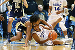 06 December 2012: Duke's Sierra Moore (5) and Georgia Tech's Dawnn Maye (1) scramble for a loose ball. The Duke University Blue Devils played the Georgia Tech University Yellow Jackets at Cameron Indoor Stadium in Durham, North Carolina in an NCAA Division I Women's Basketball game. Duke won the game 85-52.