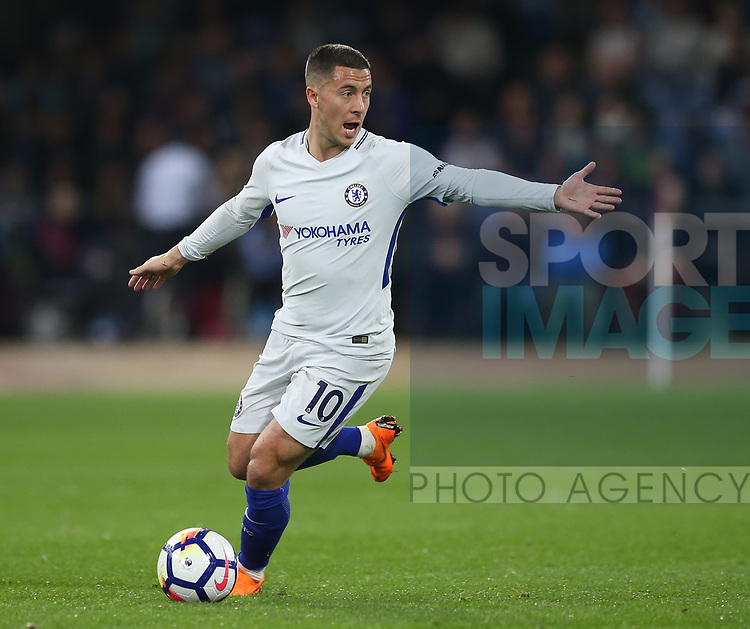 Eden Hazard of Chelsea in action during the premier league match at the Turf Moor Stadium, Burnley. Picture date 19th April 2018. Picture credit should read: Simon Bellis/Sportimage