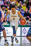 4 February 2014: University of Vermont Catamount Guard Forward Hector Harold, a Junior from Pasadena, CA, in action against the University of Maine Black Bears at Patrick Gymnasium in Burlington, Vermont. The Cats defeated the Bears 93-65 improving to 9-1 in America East and 15-9 overall. Mandatory Credit: Ed Wolfstein Photo *** RAW (NEF) Image File Available ***