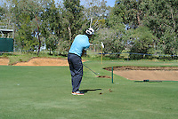Edoardo Molinari (ITA) chips in for a birdie on the 1st during Round 1 of the ISPS HANDA Perth International at the Lake Karrinyup Country Club on Thursday 23rd October 2014.<br /> Picture:  Thos Caffrey / www.golffile.ie