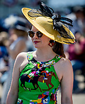 June 8, 2019 : A woman wears a racehorse dress and a yellow hat on Belmont Stakes Festival Saturday at Belmont Park in Elmont, New York. Scott Serio/Eclipse Sportswire/CSM