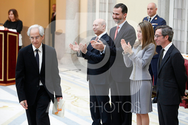 Andres Rabago 'El Roto', Prince Felipe of Spain and Princess Letizia of Spain attend the National Awards of Culture 2011 and 2012 at Palacio de El Pardo. February 19, 2013. (ALTERPHOTOS/Caro Marin)
