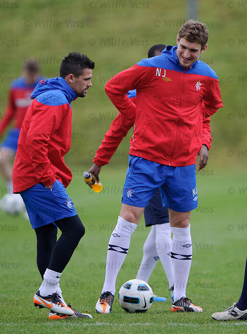 Nacho Novo and Nikica Jelavic teaming up at training