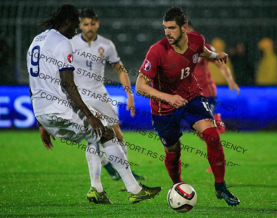 Fudbal, kvalifikacije za UEFA EURO 2016 qualifiers-Qualifying round - Group I<br /> Srbija v Portugal<br /> Stefan Mitrovic (R)<br /> Beograd, 11.10.2015.<br /> foto: Srdjan Stevanovic/Starsportphoto &copy;