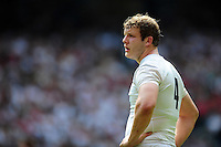 Joe Launchbury of England looks on during a break in play. Old Mutual Wealth Cup International match between England and Wales on May 29, 2016 at Twickenham Stadium in London, England. Photo by: Patrick Khachfe / Onside Images