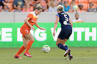 Houston, TX - Sunday June 19, 2016: Kealia Ohai, Alex Arlitt during a regular season National Women's Soccer League (NWSL) match between the Houston Dash and FC Kansas City at BBVA Compass Stadium.
