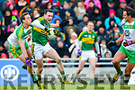 Mark Griffin, Kerry, in action against Hugh McFadden, Donegal, in the national Football League, Division 1, Round 4, at Austin Stack Park, Tralee on Sunday.