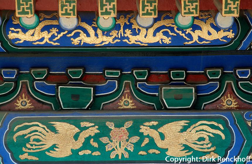China, Kaiserpalast von Peking, östliche lange Straße, Dachfirst Phönix, Unesco-Weltkulturerbe