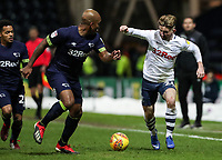 Preston North End's Sean Maguire competing with Derby County's Andre Wisdom  <br /> <br /> Photographer Andrew Kearns/CameraSport<br /> <br /> The EFL Sky Bet Championship - Preston North End v Derby County - Friday 1st February 2019 - Deepdale Stadium - Preston<br /> <br /> World Copyright © 2019 CameraSport. All rights reserved. 43 Linden Ave. Countesthorpe. Leicester. England. LE8 5PG - Tel: +44 (0) 116 277 4147 - admin@camerasport.com - www.camerasport.com