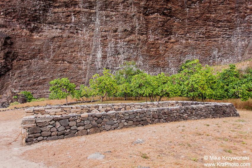 Hawaiian stone wall canoe shelter in Nualolo Kai village, Na Pali coast, Kauai