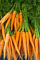 Freshly-picked carrots on sale at food market at La Reole in Bordeaux region of France