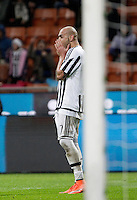 Calcio, Coppa Italia: semifinale di ritorno Inter vs Juventus. Milano, stadio San Siro, 2 marzo 2016. <br /> Juventus&rsquo;s Simone Zaza reacts after failing to score during the Italian Cup second leg semifinal football match between Inter and Juventus at Milan's San Siro stadium, 2 March 2016.<br /> UPDATE IMAGES PRESS/Isabella Bonotto