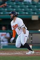 Fresno Grizzlies designated hitter Tyler White (27) starts down the first base line during a Pacific Coast League game against the Salt Lake Bees at Chukchansi Park on May 14, 2018 in Fresno, California. Fresno defeated Salt Lake 4-3. (Zachary Lucy/Four Seam Images)