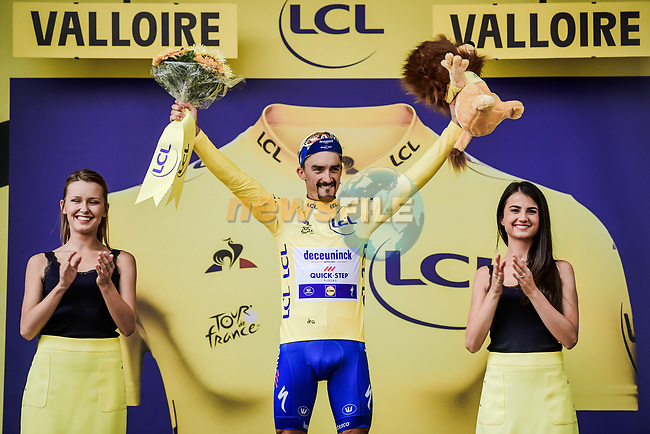 Race leader Julian Alaphilippe (FRA) Deceuninck-Quick Step retains the Yellow Jersey at the end of Stage 18 of the 2019 Tour de France running 208km from Embrun to Valloire, France. 25th July 2019.<br /> Picture: ASO/Pauline Ballet | Cyclefile<br /> All photos usage must carry mandatory copyright credit (© Cyclefile | ASO/Pauline Ballet)