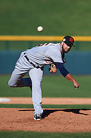Scottsdale Scorpions pitcher Jeff Ferrell (26) delivers a pitch during an Arizona Fall League game against the Mesa Solar Sox on October 19, 2015 at Sloan Park in Mesa, Arizona.  Scottsdale defeated Mesa 10-6.  (Mike Janes/Four Seam Images)