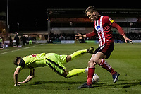Bolton Wanderers' Dennis Politiccompeting with Lincoln City's Harry Toffolo (right) <br /> <br /> Photographer Andrew Kearns/CameraSport<br /> <br /> The EFL Sky Bet League One - Lincoln City v Bolton Wanderers - Tuesday 14th January 2020  - LNER Stadium - Lincoln<br /> <br /> World Copyright © 2020 CameraSport. All rights reserved. 43 Linden Ave. Countesthorpe. Leicester. England. LE8 5PG - Tel: +44 (0) 116 277 4147 - admin@camerasport.com - www.camerasport.com