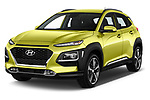 2018 Hyundai Kona Luxury Launch 5 Door SUV angular front stock photos of front three quarter view