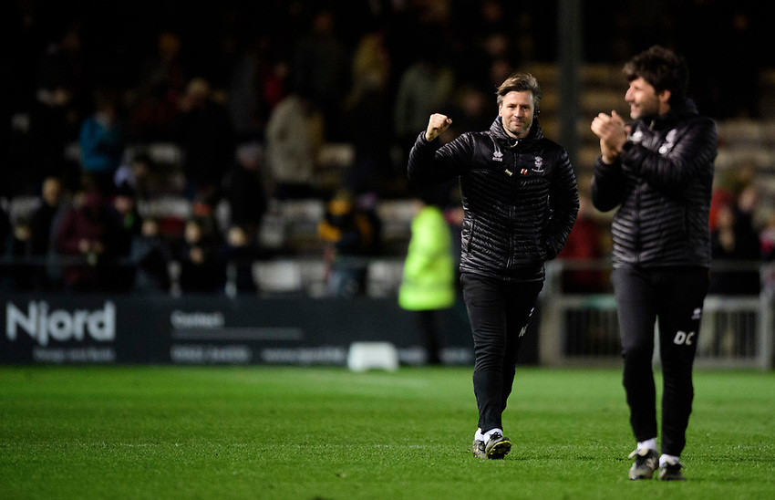 Lincoln City's assistant manager Nicky Cowley, left, and Lincoln City manager Danny Cowley celebrate following the game<br /> <br /> Photographer Chris Vaughan/CameraSport<br /> <br /> The EFL Sky Bet League Two - Lincoln City v Yeovil Town - Friday 8th March 2019 - Sincil Bank - Lincoln<br /> <br /> World Copyright © 2019 CameraSport. All rights reserved. 43 Linden Ave. Countesthorpe. Leicester. England. LE8 5PG - Tel: +44 (0) 116 277 4147 - admin@camerasport.com - www.camerasport.com
