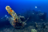 B-24 Liberator, airplane wreck, Togean Islands, Sulawesi, Indonesia, Gulf of Tomini, or Bay of Tomini, Pacific Ocean