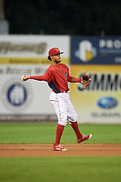 Williamsport Crosscutters shortstop Jonathan Guzman (6) throws to first base during a game against the Mahoning Valley Scrappers on August 28, 2018 at BB&T Ballpark in Williamsport, Pennsylvania.  Williamsport defeated Mahoning Valley 8-0.  (Mike Janes/Four Seam Images)