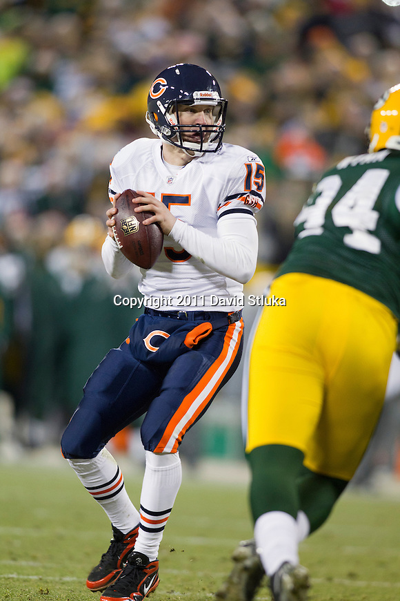 Chicago Bears quarterback Josh McCown (15) drops back to pass during a week 16 NFL football game against the Green Bay Packers on December 25, 2011 in Green Bay, Wisconsin. The Packers won 35-21. (AP Photo/David Stluka)