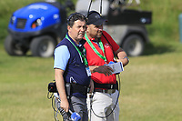 Shane O'Donoghue and Gary Murphy commentating during Thursday's Round 1 of the Dubai Duty Free Irish Open 2019, held at Lahinch Golf Club, Lahinch, Ireland. 4th July 2019.<br /> Picture: Eoin Clarke | Golffile<br /> <br /> <br /> All photos usage must carry mandatory copyright credit (© Golffile | Eoin Clarke)